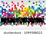 dancing people silhouettes.... | Shutterstock .eps vector #1099588022