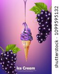 ice cream in the cone  pour... | Shutterstock .eps vector #1099595132