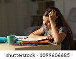 tired student studying hard... | Shutterstock . vector #1099606685