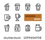 outline icons set of coffee and ... | Shutterstock .eps vector #1099606958