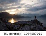 woman enjoying the beautiful... | Shutterstock . vector #1099607012