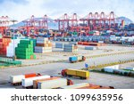 busy harbour with full loads of ...   Shutterstock . vector #1099635956