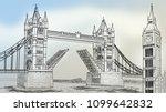 big ben tower and tower bridge... | Shutterstock . vector #1099642832