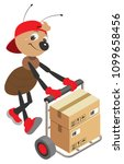 ant loader rolls cart with... | Shutterstock .eps vector #1099658456