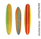 Vintage Wood Surfboard Isolate...