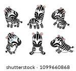 set of funny cartoon zebras on... | Shutterstock .eps vector #1099660868