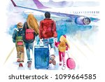 family going to airplane.... | Shutterstock . vector #1099664585