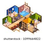vector isometric home interior... | Shutterstock .eps vector #1099664822