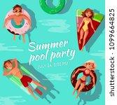 summer pool party vector... | Shutterstock .eps vector #1099664825