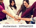 study group classmates joining... | Shutterstock . vector #1099669205