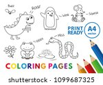 funny animals coloring book.... | Shutterstock .eps vector #1099687325