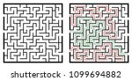 illustration with labyrinth ... | Shutterstock .eps vector #1099694882