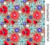 seamless floral retro pattern... | Shutterstock . vector #1099699142
