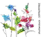 vector drawing flowers  floral...   Shutterstock .eps vector #1099699982