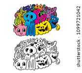 halloween party. hand drawing... | Shutterstock .eps vector #1099721042