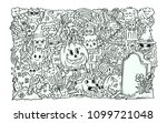 halloween party. hand drawing... | Shutterstock .eps vector #1099721048