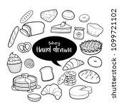 bakery and dessert hand drawn... | Shutterstock .eps vector #1099721102