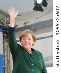 Small photo of German Chancellor Angela Merkel speaks on May 11, 2017 on the occasion of the upcoming state election on the market square in Haltern.