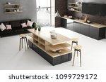 modern bright loft kitchen... | Shutterstock . vector #1099729172