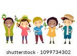 illustration of stickman kids... | Shutterstock .eps vector #1099734302