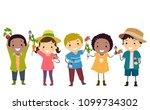 illustration of stickman kids...   Shutterstock .eps vector #1099734302