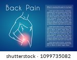 man touching back in pain area. ... | Shutterstock .eps vector #1099735082