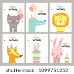 set of birthday card with cute... | Shutterstock .eps vector #1099751252