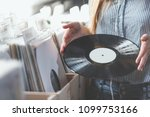 young woman with music records... | Shutterstock . vector #1099753166