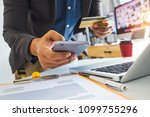 close up of businessman working ... | Shutterstock . vector #1099755296