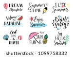 hand drawn set of lettering... | Shutterstock .eps vector #1099758332