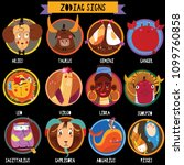 zodiac signs in circles.funny... | Shutterstock .eps vector #1099760858