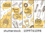 street food vector banners set. ... | Shutterstock .eps vector #1099761098