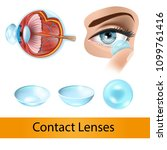 putting on contact lenses... | Shutterstock .eps vector #1099761416