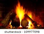 Log Burning On Open Fire