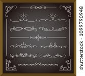 set of blackboard and frames  ... | Shutterstock .eps vector #1099790948
