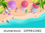 the beach scene from the top in ... | Shutterstock .eps vector #1099812482