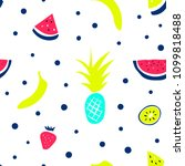 hand drawn tropical fruits... | Shutterstock .eps vector #1099818488