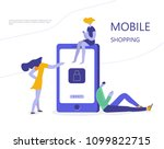 people who do mobile shopping... | Shutterstock .eps vector #1099822715