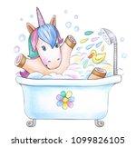 bathing baby unicorn  isolated... | Shutterstock . vector #1099826105