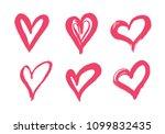 hand drawn vector heart set... | Shutterstock .eps vector #1099832435