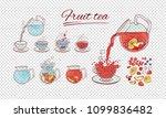 vector tea constructor fruits... | Shutterstock .eps vector #1099836482