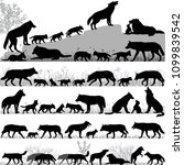 silhouettes of wolves and its... | Shutterstock .eps vector #1099839542