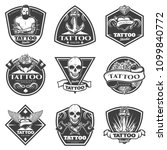 monochrome tattoo salon labels... | Shutterstock .eps vector #1099840772