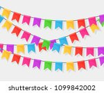 banner with garland of colour... | Shutterstock .eps vector #1099842002