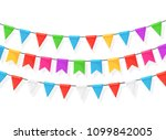 banner with garland of colour... | Shutterstock .eps vector #1099842005