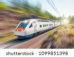 high speed electric train with... | Shutterstock . vector #1099851398