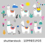 llama collection  cute hand... | Shutterstock .eps vector #1099851935
