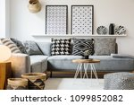 patterned pillows on grey... | Shutterstock . vector #1099852082