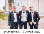 young groom and his funny... | Shutterstock . vector #1099852502