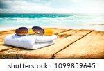 summer photo of desk with... | Shutterstock . vector #1099859645